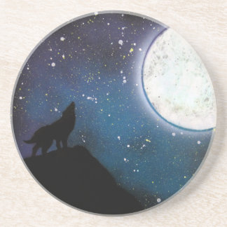 Wolf Howling at Moon Spray Paint Art Painting Beverage Coasters