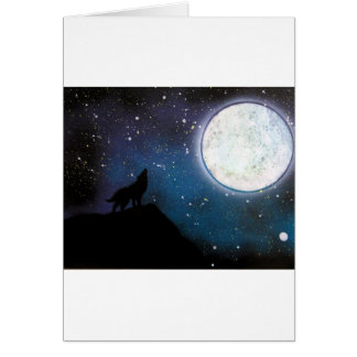 Wolf Howling at Moon Spray Paint Art Painting Card