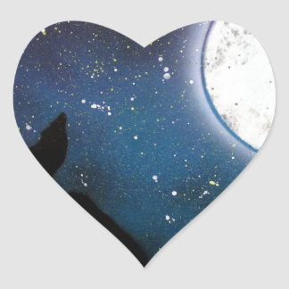Wolf Howling at Moon Spray Paint Art Painting Heart Sticker