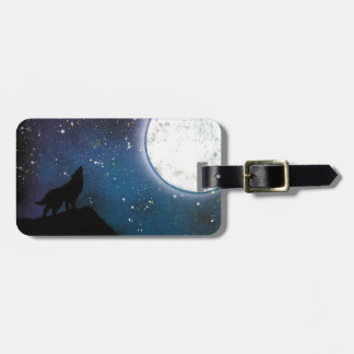 Wolf Howling at Moon Spray Paint Art Painting Luggage Tag