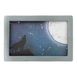 Wolf Howling at Moon Spray Paint Art Painting Rectangular Belt Buckle