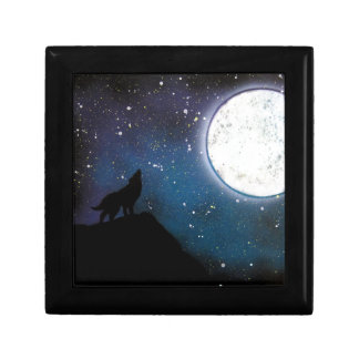 Wolf Howling at Moon Spray Paint Art Painting Small Square Gift Box