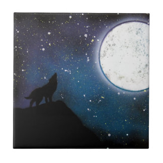 Wolf Howling at Moon Spray Paint Art Painting Small Square Tile