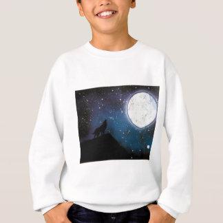 Wolf Howling at Moon Spray Paint Art Painting Sweatshirt