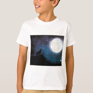 Wolf Howling at Moon Spray Paint Art Painting T-Shirt