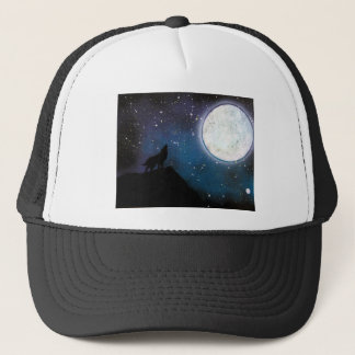 Wolf Howling at Moon Spray Paint Art Painting Trucker Hat