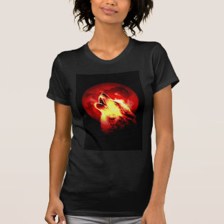 Wolf Howling at Red Night T Shirt