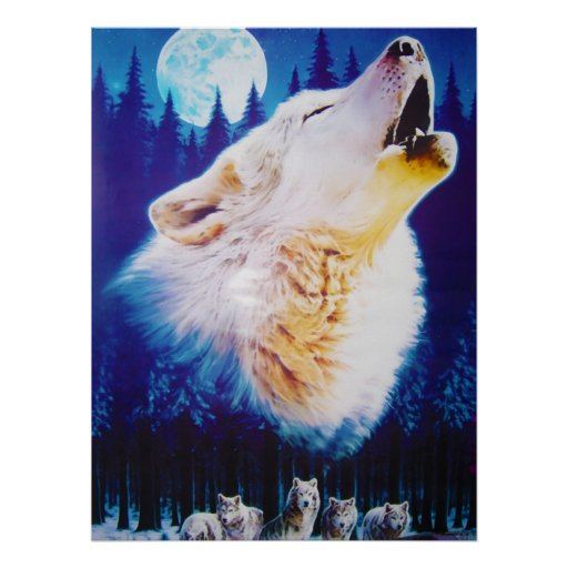 Wolf Howling at the Full Blue Moon Print