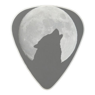 Wolf Howling at The Full Moon Acetal Guitar Pick