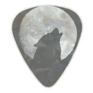 Wolf Howling at The Full Moon Pearl Celluloid Guitar Pick