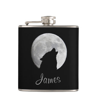 Wolf Howling at The Full Moon, Your Name Hip Flask