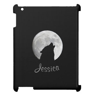Wolf Howling at The Full Moon, Your Name iPad Cover