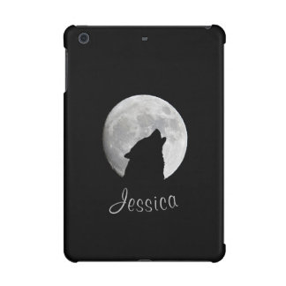 Wolf Howling at The Full Moon, Your Name iPad Mini Case