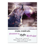 Wolf Howling at The Moon 13 Cm X 18 Cm Invitation Card