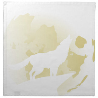 Wolf Howling at the Moon 3 Napkin