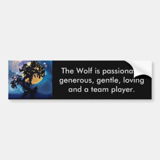 Wolf howling at the moon car bumper sticker