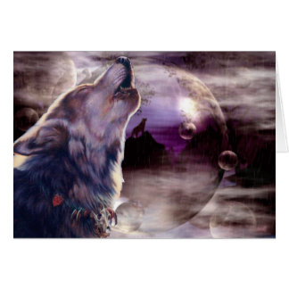 Wolf Howling at The Moon Card