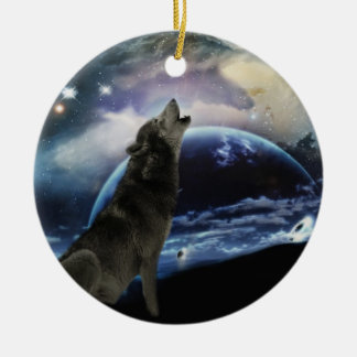 Wolf howling at the moon christmas tree round ceramic decoration