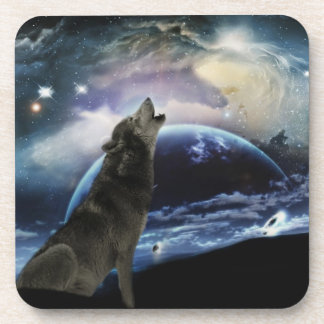 Wolf howling at the moon coaster