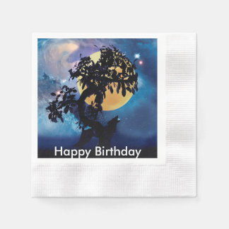 Wolf howling at the moon paper napkin