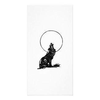 Wolf Howling at the Moon Photo Card Template