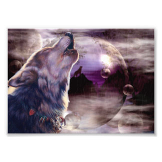 Wolf Howling at The Moon Photograph