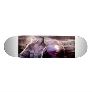 Wolf Howling at The Moon Skateboard Deck