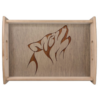 Wolf howling engraved on wood design serving tray