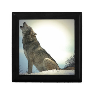 Wolf Howling in Snow Small Square Gift Box