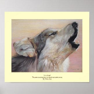 wolf howling wildlife original pastel art poster