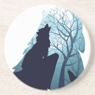 Wolf Howling with Forest2-01 Coaster