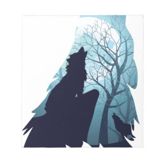 Wolf Howling with Forest2-01 Notepad