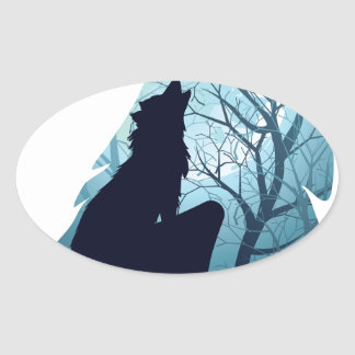 Wolf Howling with Forest2-01 Oval Sticker
