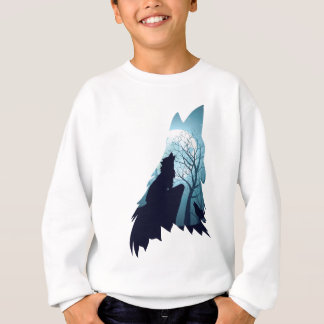 Wolf Howling with Forest2-01 Sweatshirt