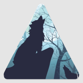 Wolf Howling with Forest2-01 Triangle Sticker
