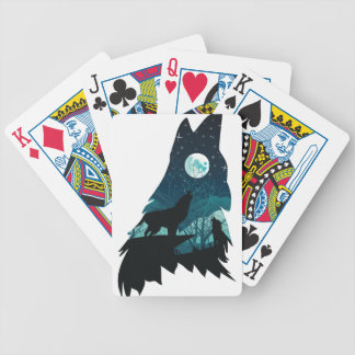 Wolf Howling with Forest Bicycle Playing Cards