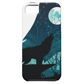 Wolf Howling with Forest Case For The iPhone 5