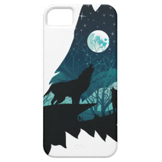 Wolf Howling with Forest iPhone 5 Cases