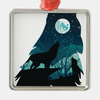 Wolf Howling with Forest Metal Ornament