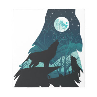 Wolf Howling with Forest Notepad