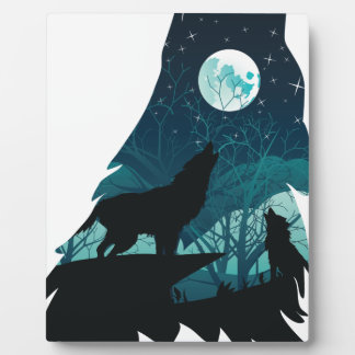 Wolf Howling with Forest Plaque