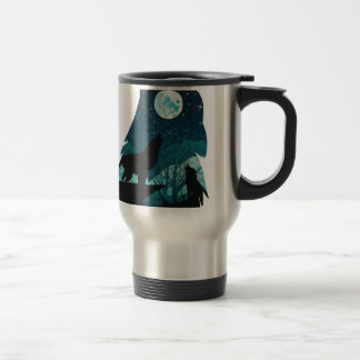 Wolf Howling with Forest Travel Mug