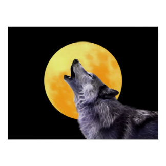 Wolf howls at the full moon posters