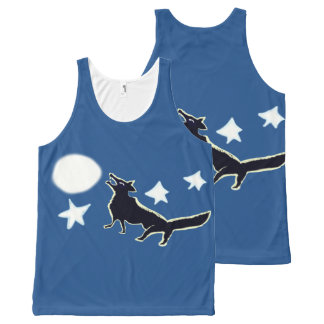 Wolf Howls At The Moon And Stars All-Over Print Tank Top