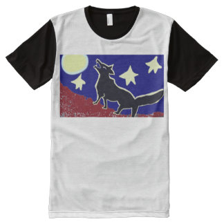 Wolf Howls At The Moon And Stars All-Over Print T-Shirt