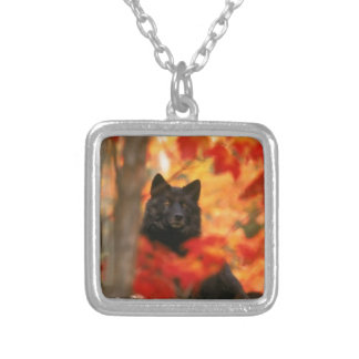 Wolf In Autumn Silver Plated Necklace