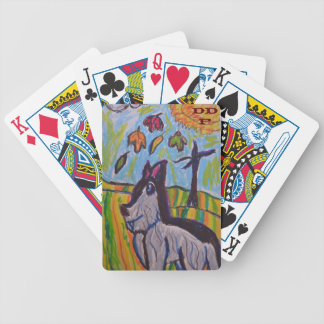 wolf in fall three bicycle playing cards