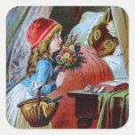 Wolf in Grandma Bed Square Sticker