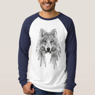 Wolf In Indigenous Apparel Raglan Long Sleeve T-Shirt