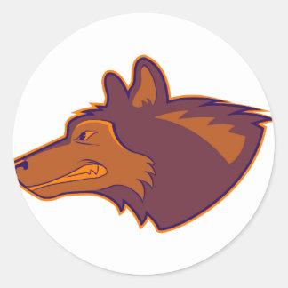 Wolf in Retro Orange Classic Round Sticker